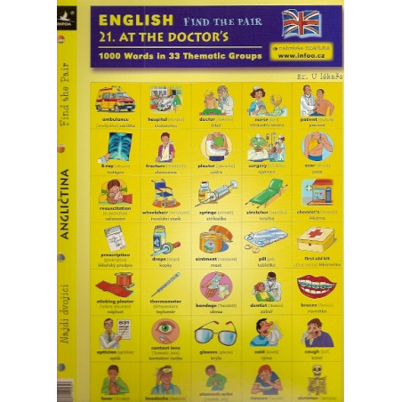 21. At the Doctor's - Find the pair game (Bilingual Czech-English Memory Cards)