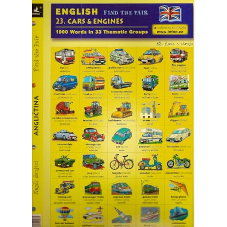 23. Cars & Engines - Find the pair game (Bilingual Czech-English Memory Cards)